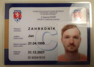 C licence - Jan Zahradník
