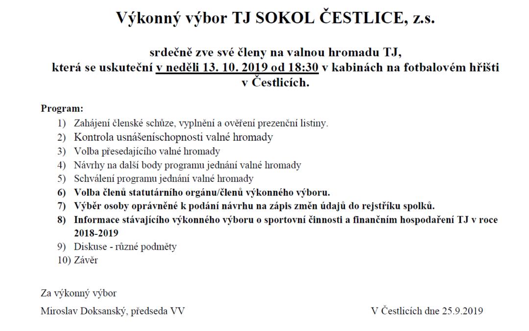 Pozvánka na valnou hromadu členů TJ SOKOL ČESTLICE, z.s.